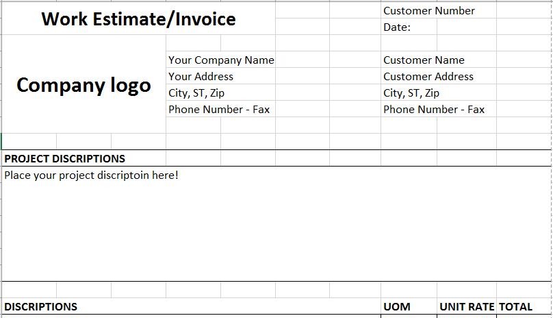 Excel Templates – Estimate Invoice Template